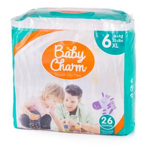 Ontex Turnov Baby Charm Super Dry Flex vel. 6 Extra Large, 16 kg+, 26 ks