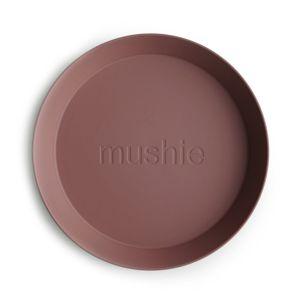 Mushie - kulatý talíř 2 ks - Woodchuck