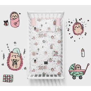 Lullalove Bavlněné ložní povlečení 135x100 cm - Ježek růžový