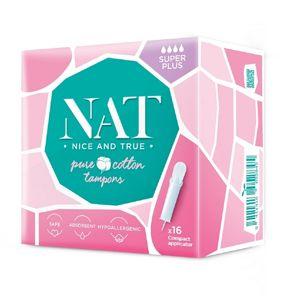 Tampóny NAT nice & true z organické bavlny s aplikátorem - super plus (16 ks)